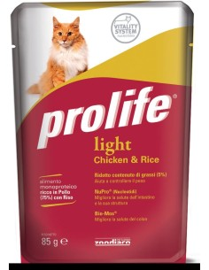 Prolife cat adult light pollo e riso busta umido 85 gr