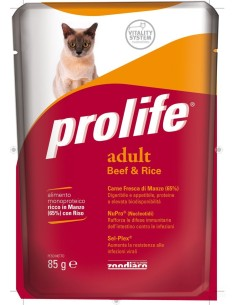 Prolife cat adult manzo e riso busta umido 85 gr