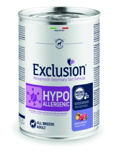 EXCLUSION HYPOALLERGENIC Cinghiale and Patate lattina 400g