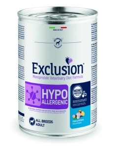 EXCLUSION HYPOALLERGENIC Pesce and Patate lattina 400g