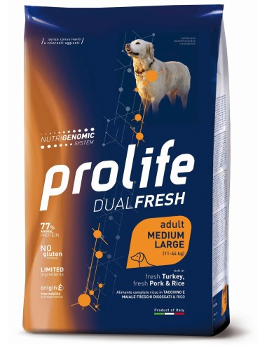 Prolife Dualfresh   Medium/Large Tacchino Maiale e Riso - 12 kg