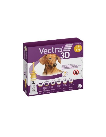 Vectra® 3D spot-on per cani 1,5/4 Kg (3 pipette)