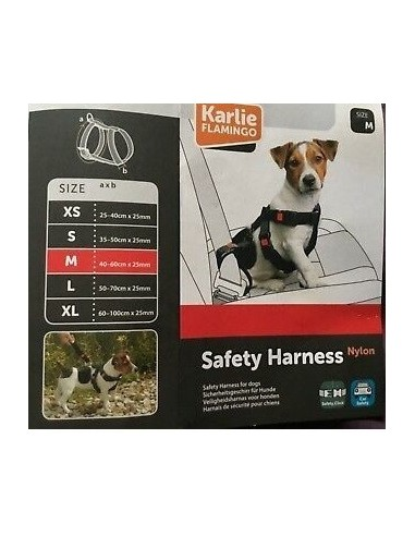 Cintura di sicurezza nera per auto per cani - Taglia M 40-60cm