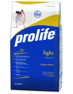 Prolife dog light all breeds Pollo e Riso 3 Kg