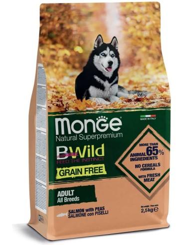 Monge BWild Dog Grain Free All Breeds Adult Salmone con Piselli - 2,5kg