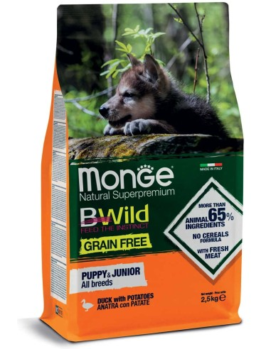 Monge BWild Grain Free Puppy&Junior All Breeds - Anatra con Patate 12kg