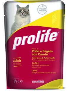 Prolife cat adult pollo fegato con carote busta umido 85 gr
