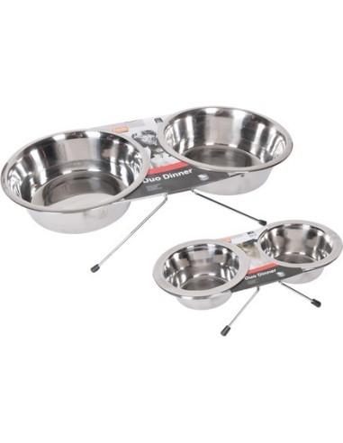 Ciotola doppia in acciaio rialzata per cani di piccola taglia e gatti