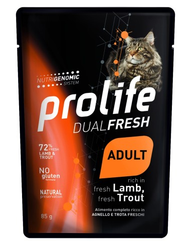 Prolife Cat Dualfresh Adult Agnello e Trota - 85 gr - NEW