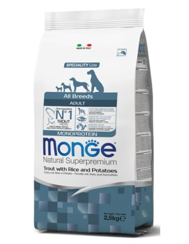 Monge Dog Monoprotein All Breeds Adult con Trota Riso e Patate - 12kg