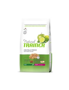 Natural Trainer maxi puppy pollo fresco semi di lino lievito 12 kg