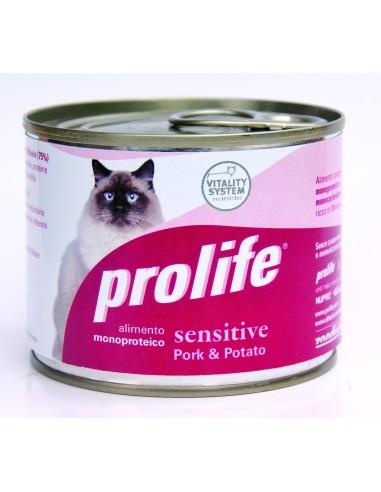 Prolife cat adult Sensitive maiale e patate lattina umido 200 gr