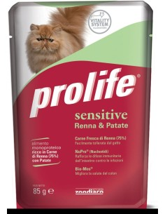 Prolife cat adult sensitive renna e patate busta umido 85 gr