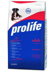 Prolife Adult all breeds manzo e riso 15 Kg