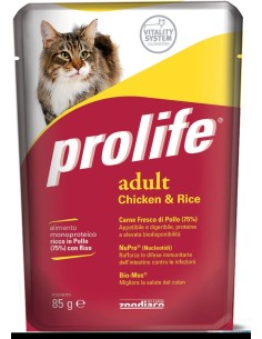 Prolife cat adult pollo e riso busta umido 85 gr