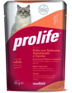 Prolife cat adult pollo con salmone gamberetti e carote busta umido 85 gr