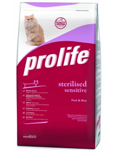 Prolife  Cat Sterilised/sensitive Maiale e Riso 12 kg